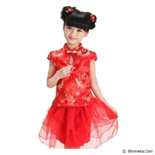GOODSTORY CNY Chinese Dress Cheongsam Qibao Size 12 - Gold Emboss Red - Dress Bepergian/Pesta Bayi dan Anak