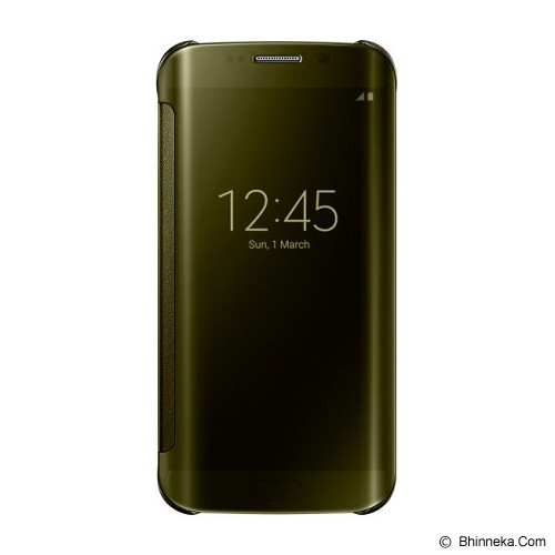 SAMSUNG Galaxy S6 EDGE Clear View Cover - Gold - Casing Handphone / Case
