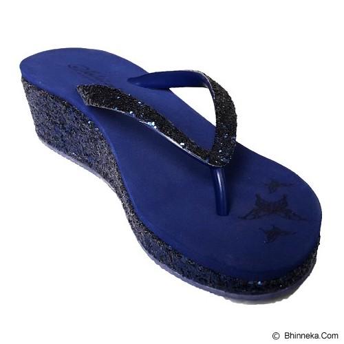 SAKIA Cabaret Wedges Sandal Size 38 - Navy - Wedges Wanita