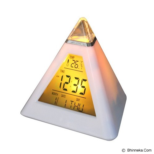 ESA Color Changing Pyramid Clock [JK-8082] - White - Jam Meja