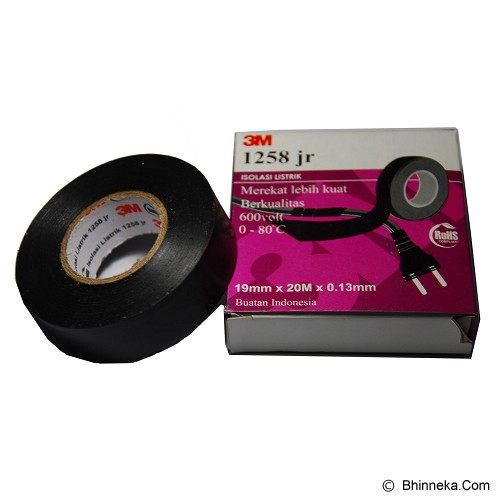 3M Scotch 1258 jr Vinyl Tape - Hitam - Isolasi Kabel