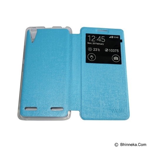 AIMI Flip Cover Fitur View for Lenovo A6000 [K3] - Soft Blue (Merchant) - Casing Handphone / Case