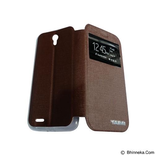 AIMI Flip Cover Fitur View for Lenovo A859 - Brown (Merchant) - Casing Handphone / Case