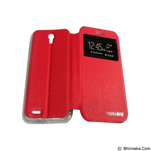 AIMI Flip Cover Fitur View for Lenovo A859 - Red (Merchant) - Casing Handphone / Case