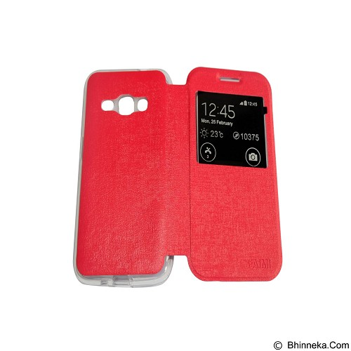 AIMI Flip Cover Fitur View for Samsung Galaxy J1 (2016) - Red (Merchant) - Casing Handphone / Case