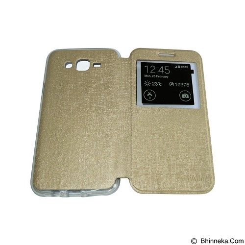 AIMI Flip Cover Fitur View for Samsung Galaxy J700 - Gold (Merchant) - Casing Handphone / Case