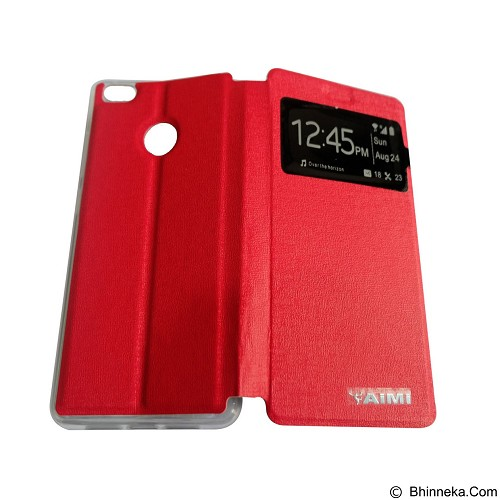 AIMI Flip Cover Fitur View for Xiaomi Mi 4S - Red (Merchant) - Casing Handphone / Case