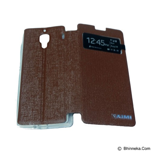 AIMI Flip Cover Fitur View for Xiaomi Redmi 1S - Brown (Merchant) - Casing Handphone / Case
