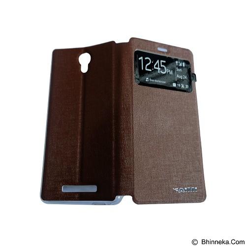 AIMI Flip Cover Fitur View for Xiaomi Redmi Note 2 - Brown (Merchant) - Casing Handphone / Case