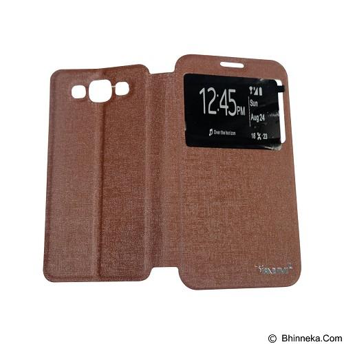 AIMI Flip Cover Fitur View for Samsung Galaxy E700/E7 - Brown (Merchant) - Casing Handphone / Case