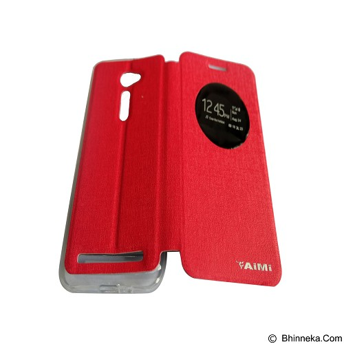 AIMI Flipcover Fitur View for Asus Zenfone 2 5.0 ZE500CL - Red (Merchant) - Casing Handphone / Case