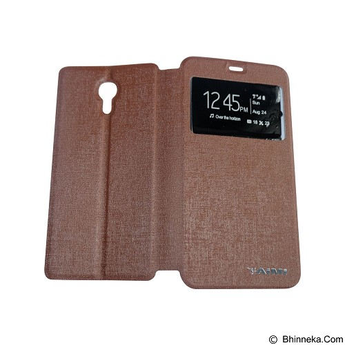 AIMI Flipcover Fitur View for Meizu M2 Note - Brown (Merchant) - Casing Handphone / Case