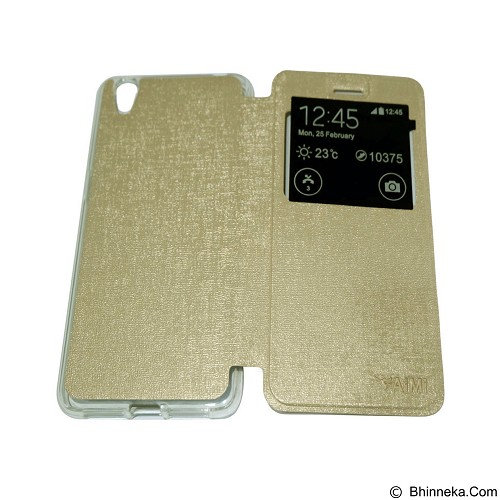 AIMI Flipcover Fitur View for Oppo Neo 9 A37 - Gold (Merchant) - Casing Handphone / Case