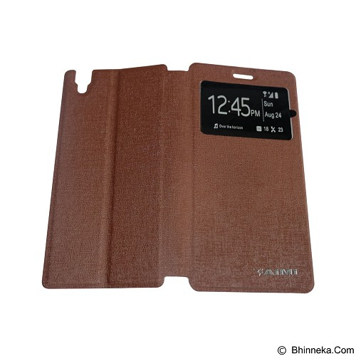 AIMI Flipcover Fitur View for Oppo R7 S - Brown (Merchant) - Casing Handphone / Case