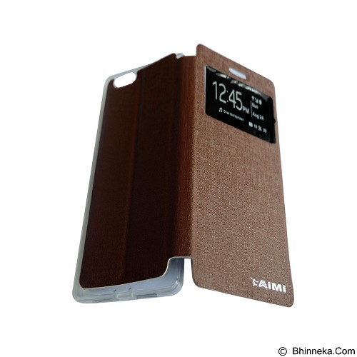 AIMI Flipcover Fitur View for Oppo R8207/R1 X - Brown (Merchant) - Casing Handphone / Case