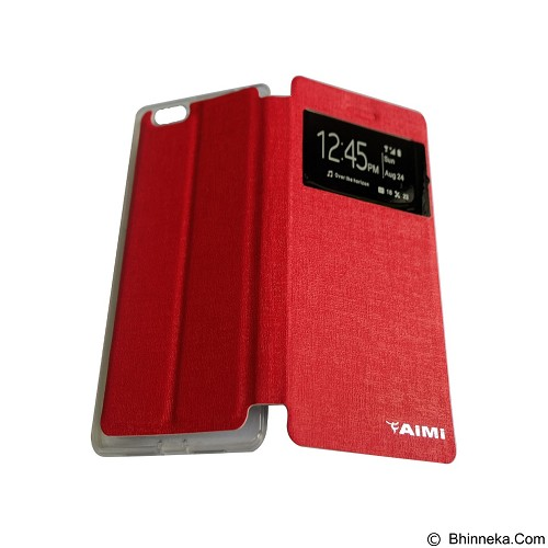 AIMI Flipcover Fitur View for Oppo R8207/R1 X - Red (Merchant) - Casing Handphone / Case