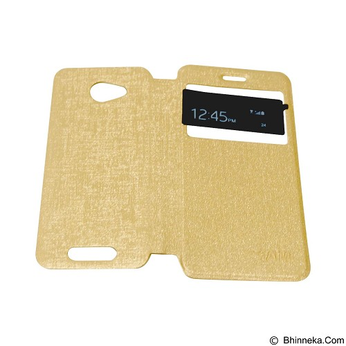 AIMI Flipcover Fitur View for Smartfren Andromax A - Gold (Merchant) - Casing Handphone / Case