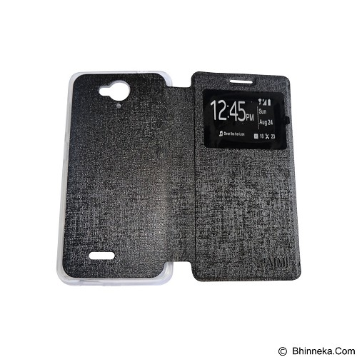 AIMI Flipcover Fitur View for Smartfren Andromax E2 Plus - Black (Merchant) - Casing Handphone / Case