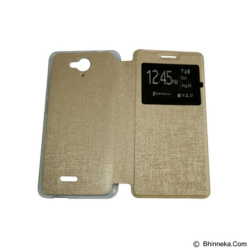 AIMI Flipcover Fitur View for Smartfren Andromax E2 Plus - Gold (Merchant) - Casing Handphone / Case