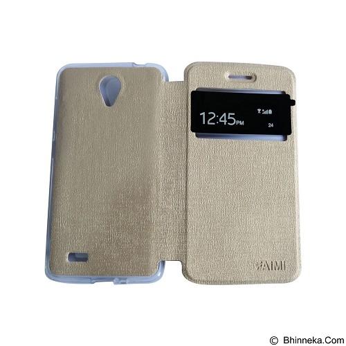 AIMI Flipcover Fitur View for Vivo Y21 - Gold (Merchant) - Casing Handphone / Case