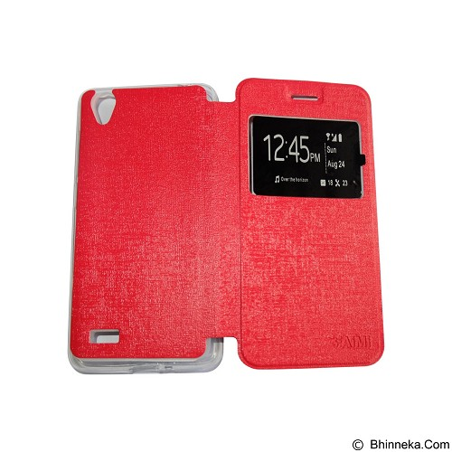 AIMI Flipcover Fitur View for Vivo Y31 - Red (Merchant) - Casing Handphone / Case