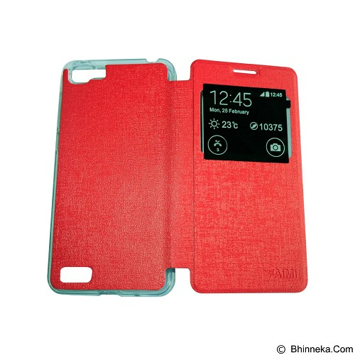 AIMI Flipcover Fitur View for Vivo Y35 - Red (Merchant) - Casing Handphone / Case