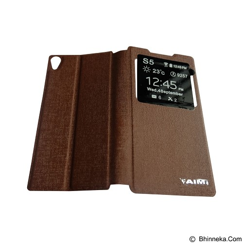 AIMI Flipcover for Sony Xperia Z5 Premium/Plus - Brown (Merchant) - Casing Handphone / Case