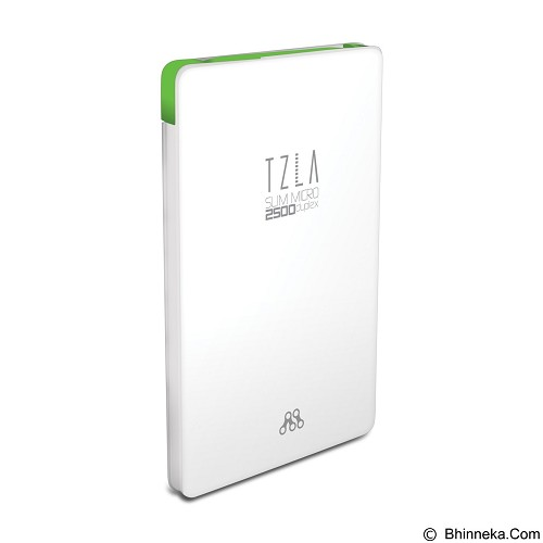ALCATROZ Tzla Slim Micro 2500mAh - White Green - Portable Charger / Power Bank