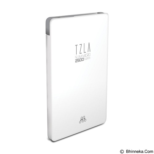 ALCATROZ Tzla Slim Micro 2500mAh - White Grey - Portable Charger / Power Bank