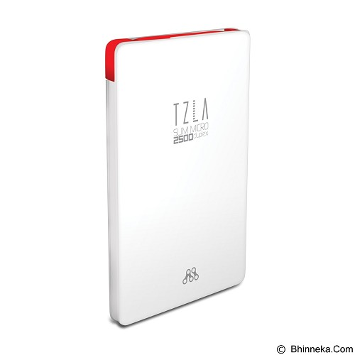 ALCATROZ Tzla Slim Micro 2500mAh - White Red - Portable Charger / Power Bank