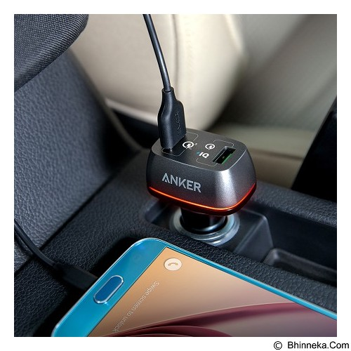 ANKER PowerDrive+ 2 42W Car Charger 2 USB Port with Quick Charge 3.0 [A2224611] - Black (Merchant) - Car Kit / Charger