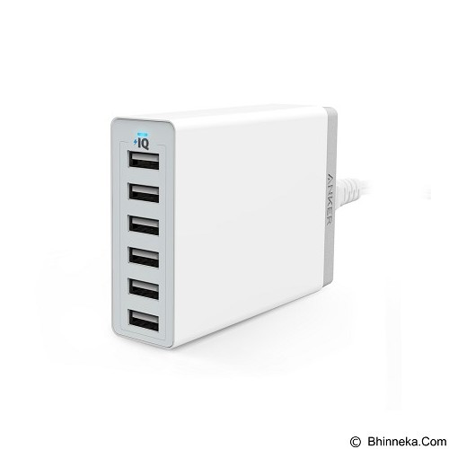 ANKER PowerPort 6 USB Charger 6 Port [A2123L22] - White (Merchant) - Universal Charger Kit
