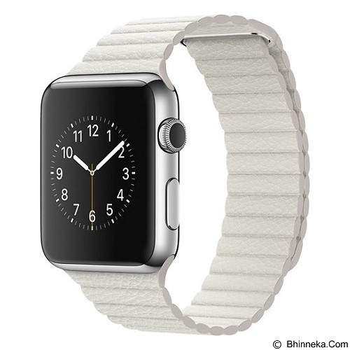 APPLE Watch 42mm Stainless Steel Classic Leather Loop Large [MMFW2ID/A] - White - Smart Watches