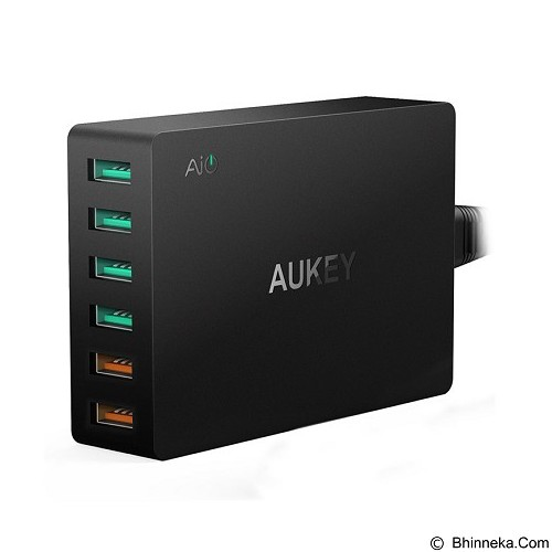 AUKEY USB Charging Station 6 Port 60W [PA-T11] - Black (Merchant) - Charger Handphone