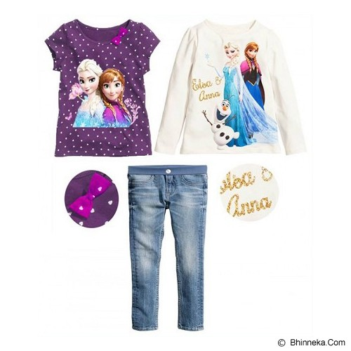 BABYZANIA M 3 Piece Tees and Jeans Set Elsa and Anna 130 (6Y) [MC-5F] - Purple and White - Setelan / Set Bepergian/Pesta Bayi dan Anak