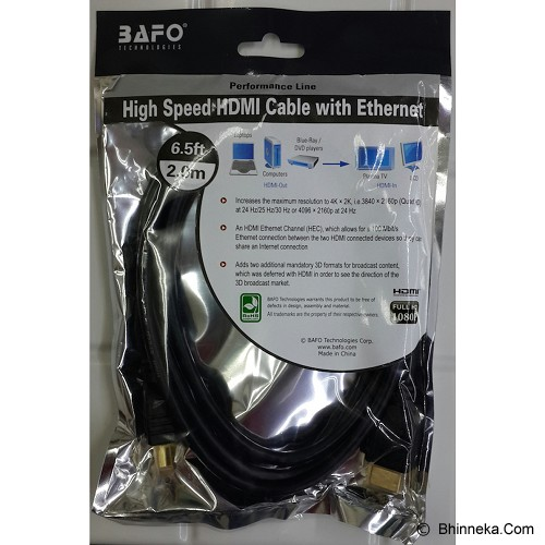 BAFO HDMI High Speed Cable With Ethernet 2M - Cable / Connector Hdmi