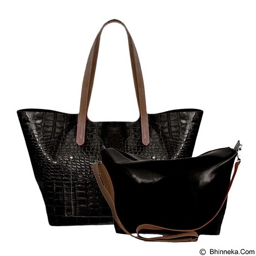 BAG & STUFF Luxury Croco Geneva Tote Bag in Bag - Black (Merchant) - Tas Tangan Wanita