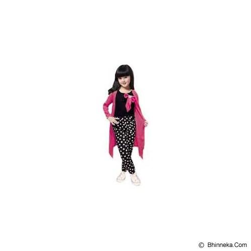 BANANANA Setelan Anak Polkadot Long Cardi 738 Size 6 [738-PNKTHTM] - Pink Black - Setelan / Set Bepergian/Pesta Bayi dan Anak