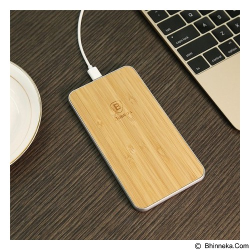 BASEUS Flare Series Wireless Charger Pad - Silver Wood (Merchant) - Charger Handphone