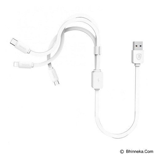 BASEUS String Series Micro USB Lightning Type-C Cable - White (Merchant) - Cable / Connector Usb