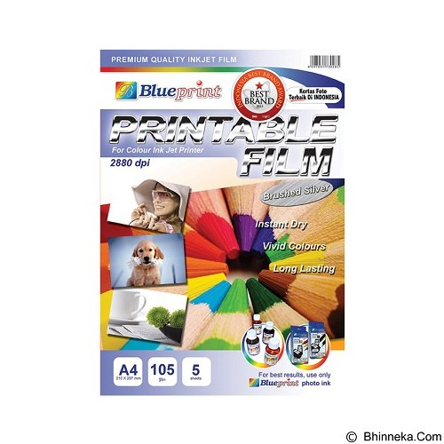 BLUEPRINT Brushed Silver Printable Film A4 [BP-PFBSA4105] (Merchant) - Kertas Foto / Photo Paper