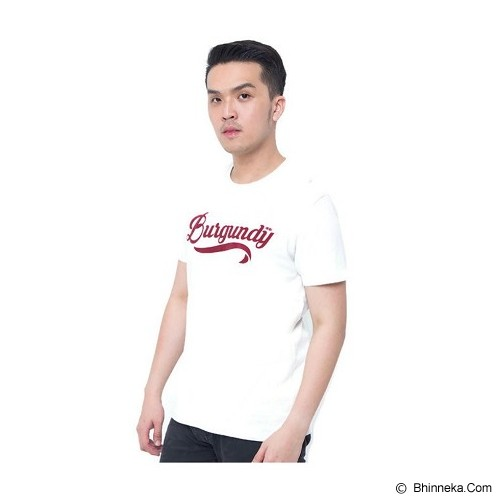 BURGUNDY T Shirt Burgundy Flocking 37 Size S [009-TS.005] - Cream - Kaos Pria