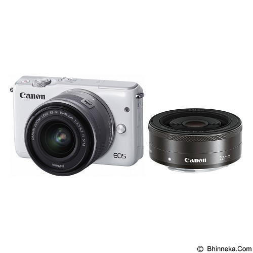 CANON EOS M10 Double Kit1 - White (Merchant) - Camera Mirrorless