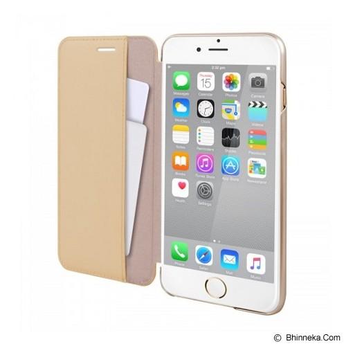 CAPDASE Folder Case Apple iPhone 6 Plus / iPhone 6S Plus Posh Genuine Leather Flip Case Gold - Beige - Casing Handphone / Case