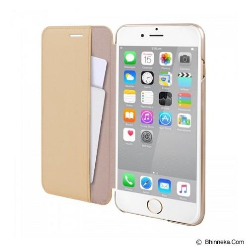 CAPDASE Folder Case Apple iPhone 6 Plus / iPhone 6S Plus Posh Genuine Leather Flip Case Gold - Beige - Casing Handphone / Case