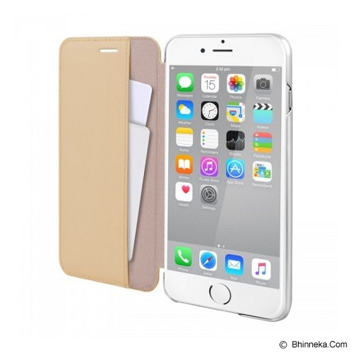 CAPDASE Folder Case Apple iPhone 6 Plus / iPhone 6S Plus Posh Genuine Leather Flip Case Silver - Beige - Casing Handphone / Case