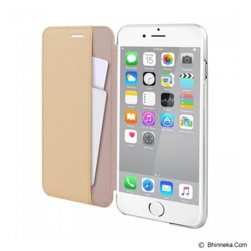 CAPDASE Folder Case Apple iPhone 6 Plus / iPhone 6S Plus Posh Genuine Leather Flip Case Silver - Beige - Casing Handphone / Case