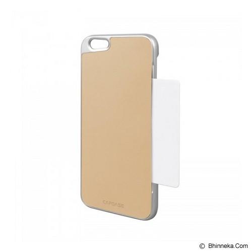 CAPDASE Karapace Jacket Apple iPhone 6 Plus / iPhone 6S Plus Posh Genuine Leather Case with Card Slot Silver - Beige - Casing Handphone / Case