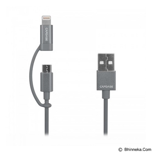 CAPDASE Posh 2 in 1 Sync & Charge Cable Lightning and Micro-USB Connectors 1.2m  [HC00-P10G] - Grey - Cable / Connector Usb