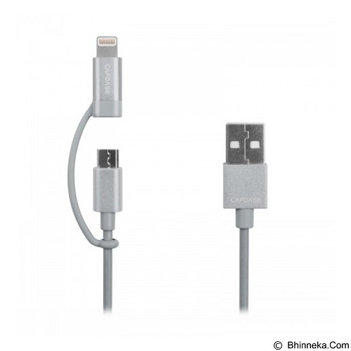 CAPDASE Posh 2 in 1 Sync & Charge Cable Lightning and Micro-USB Connectors 18cm [HC00-P20C] - Silver - Cable / Connector Usb